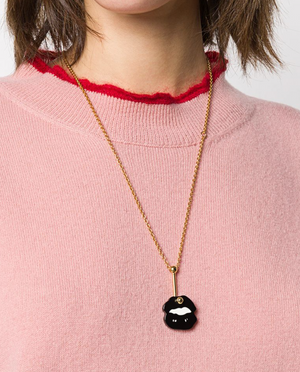 Lip Necklace in Black
