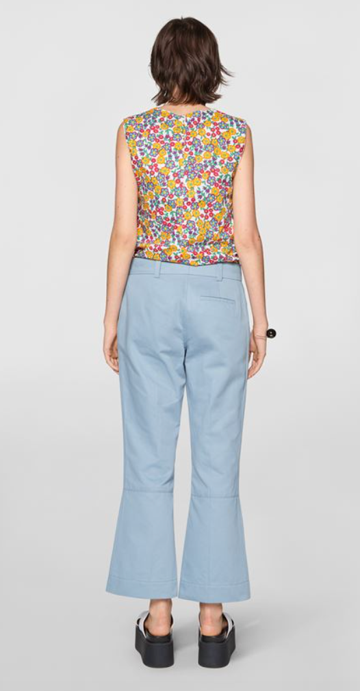 Masculine Trousers in Organic Cotton Drill Blue