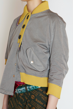 Cropped Polo Style Jacket in Light Grey