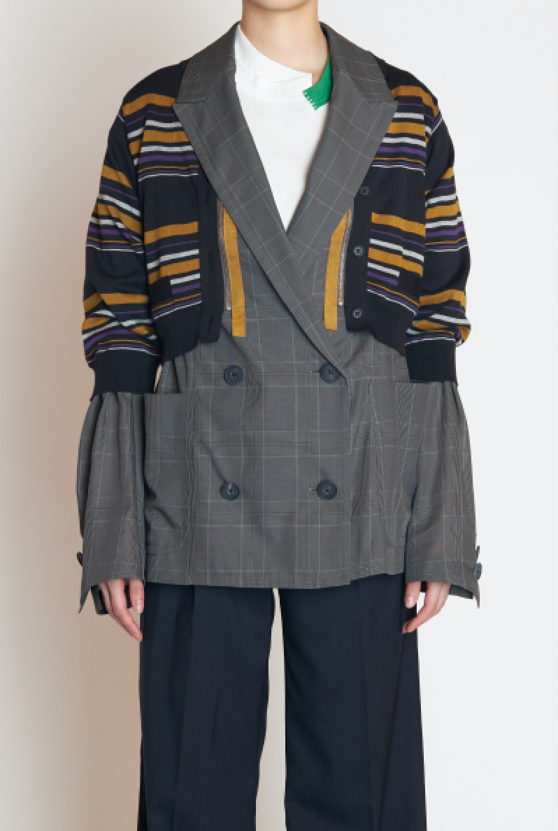 Jacket in Grey with Striped Sweater Attachment