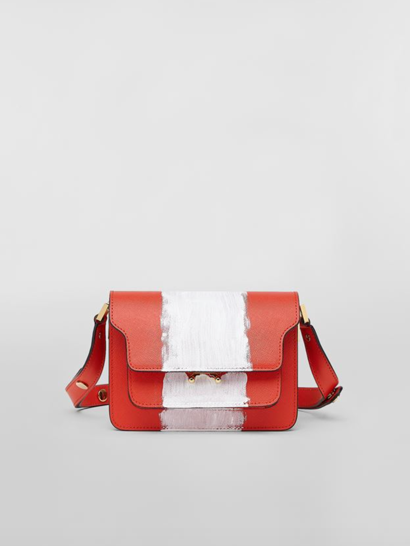 Nano Trunk Shoulder Bag in Red and White