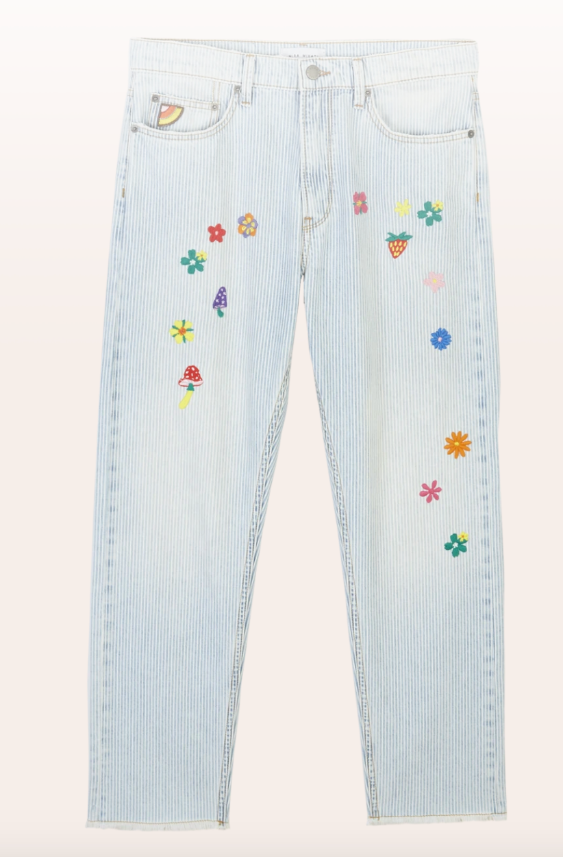 Striped Denim Flower Embroidered