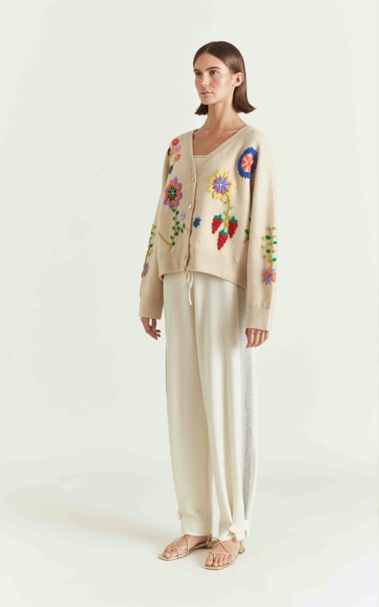 Hand Embroidered Floral Cardigan in Beige