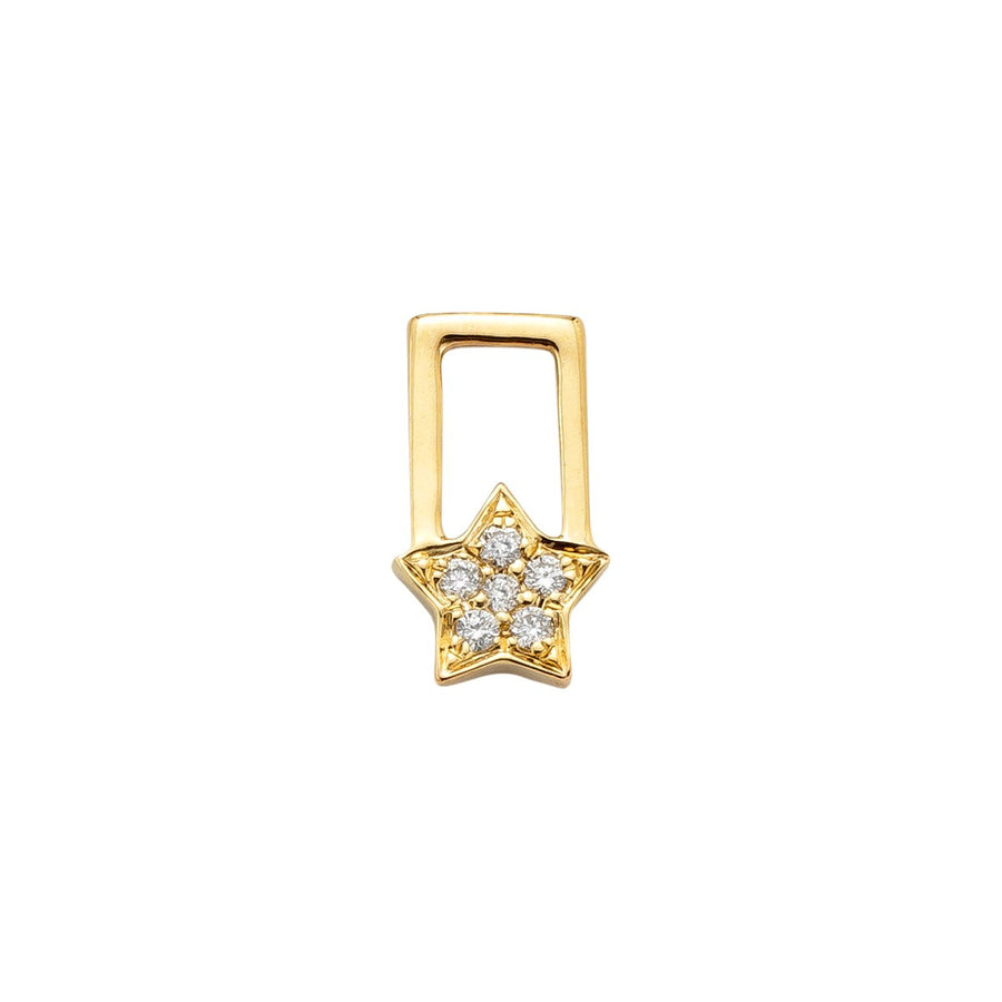 14K Yellow Gold with Diamonds Star Charm For Hoop Earring