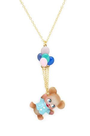 Teddy Bear with Balloons Necklace