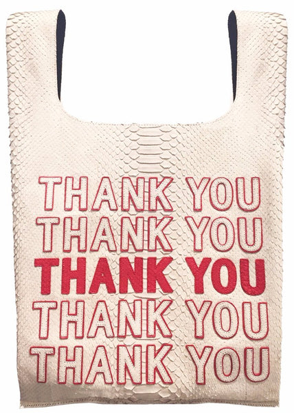 "White and Red Exotic Skin ""Thank You"" Bodega Tote Bag"