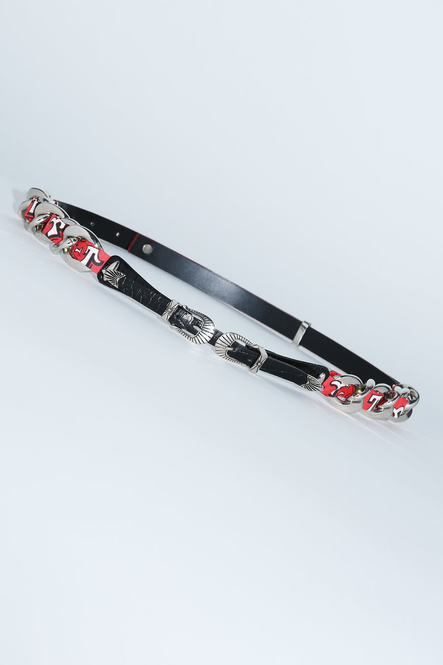 Double Buckle Chain Belt in Red