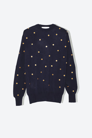 Dot Knit Pullover in Navy