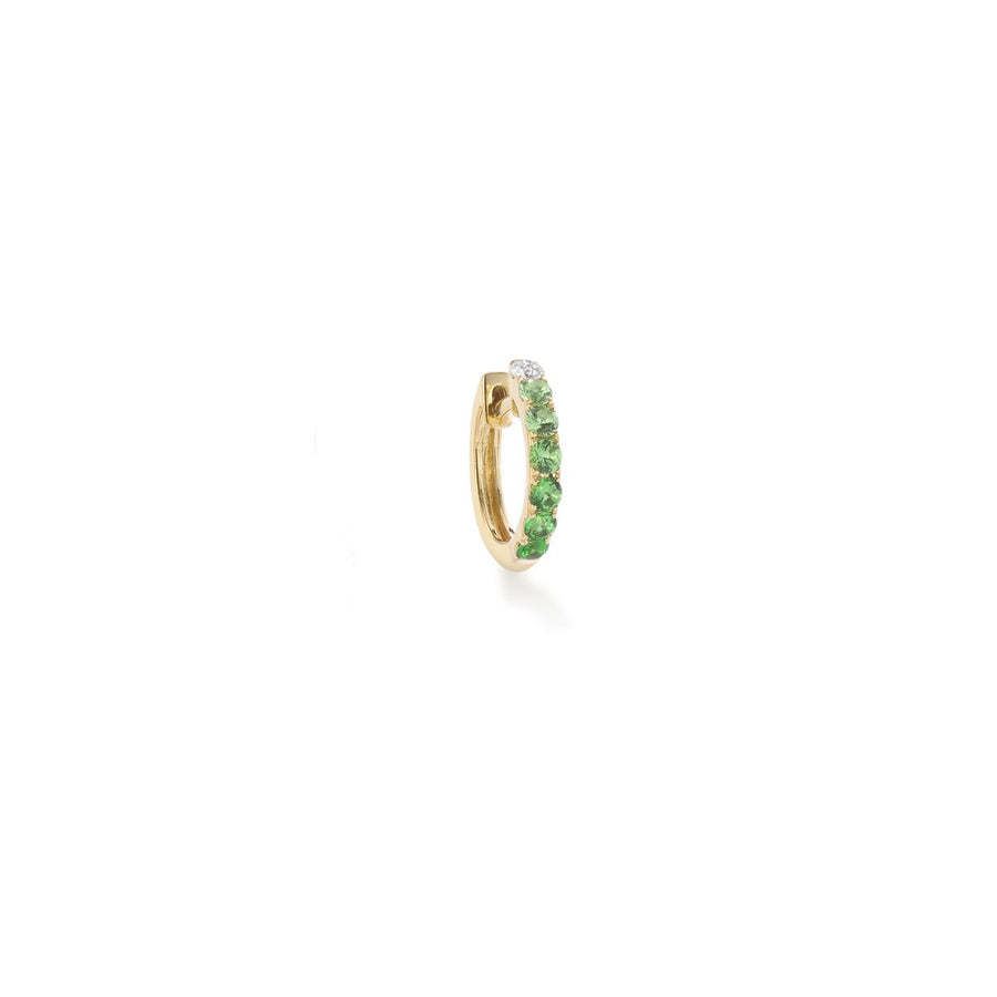 14K Yellow Gold with Diamond and Tsavorites Midi Orb Hoop Earring