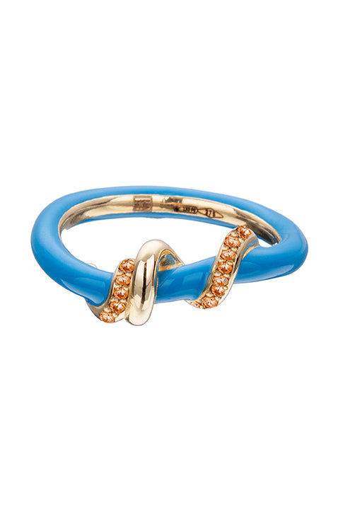 Turquoise Enamel Baby Vine Wrapped Stacking Ring