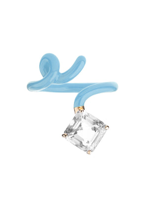 Square Tendril Ring with Baby Blue Enamel