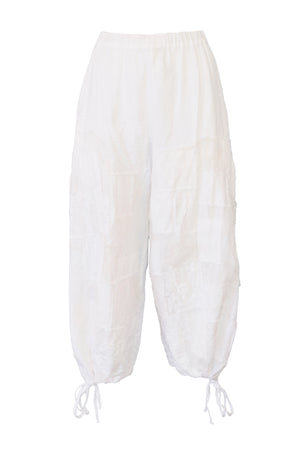 White Herringbone Ladies Pants with Patchwork and Organza Applique