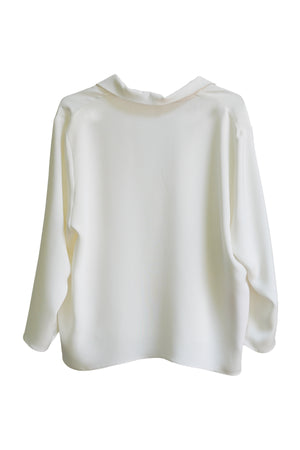 White Silk 3/4 Sleeve Square Front Frolic Top