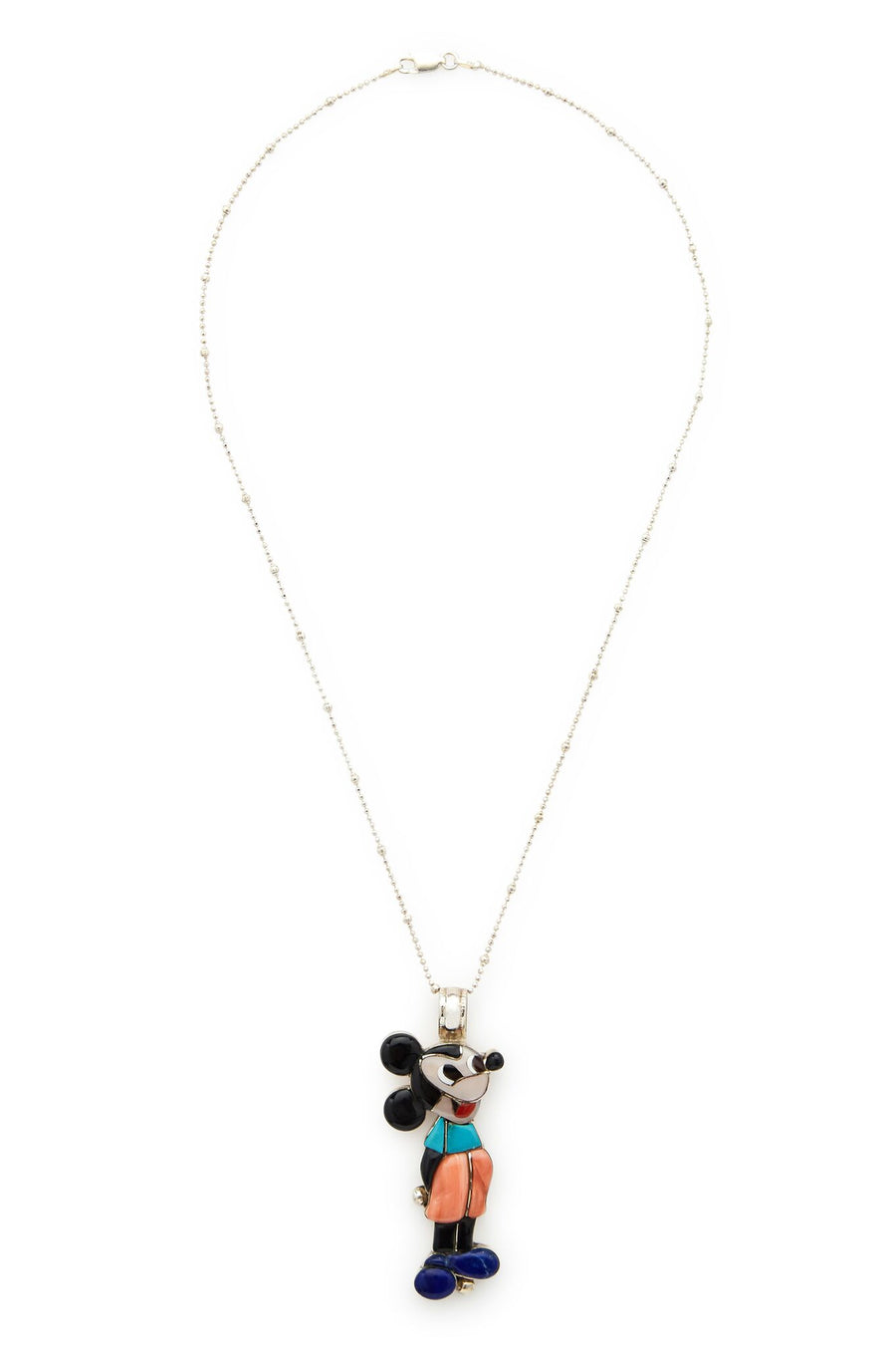 Sterling Silver Multi Stone Veronica Poblano Mickey Mouse Necklace