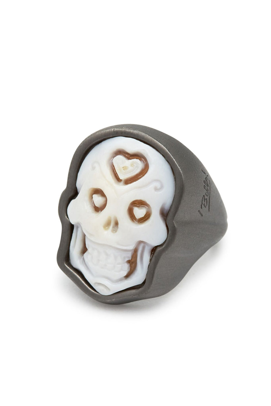 Brushed Rhodium Plated Sterling Silver Skull Cameo Ring