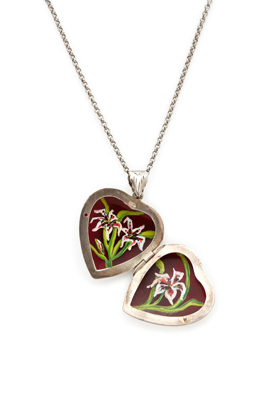 Silver Hand Painted Flower Necklace