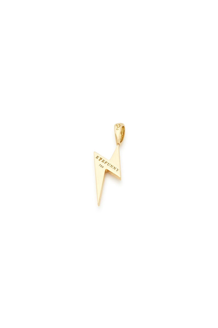 18K Gold White Diamond Lightning Bolt Charm