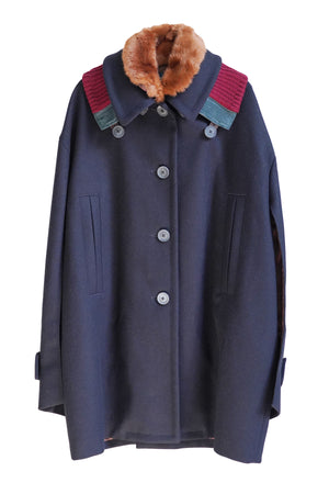 Wool Coat with Fur/Knit Collar in Dark Navy