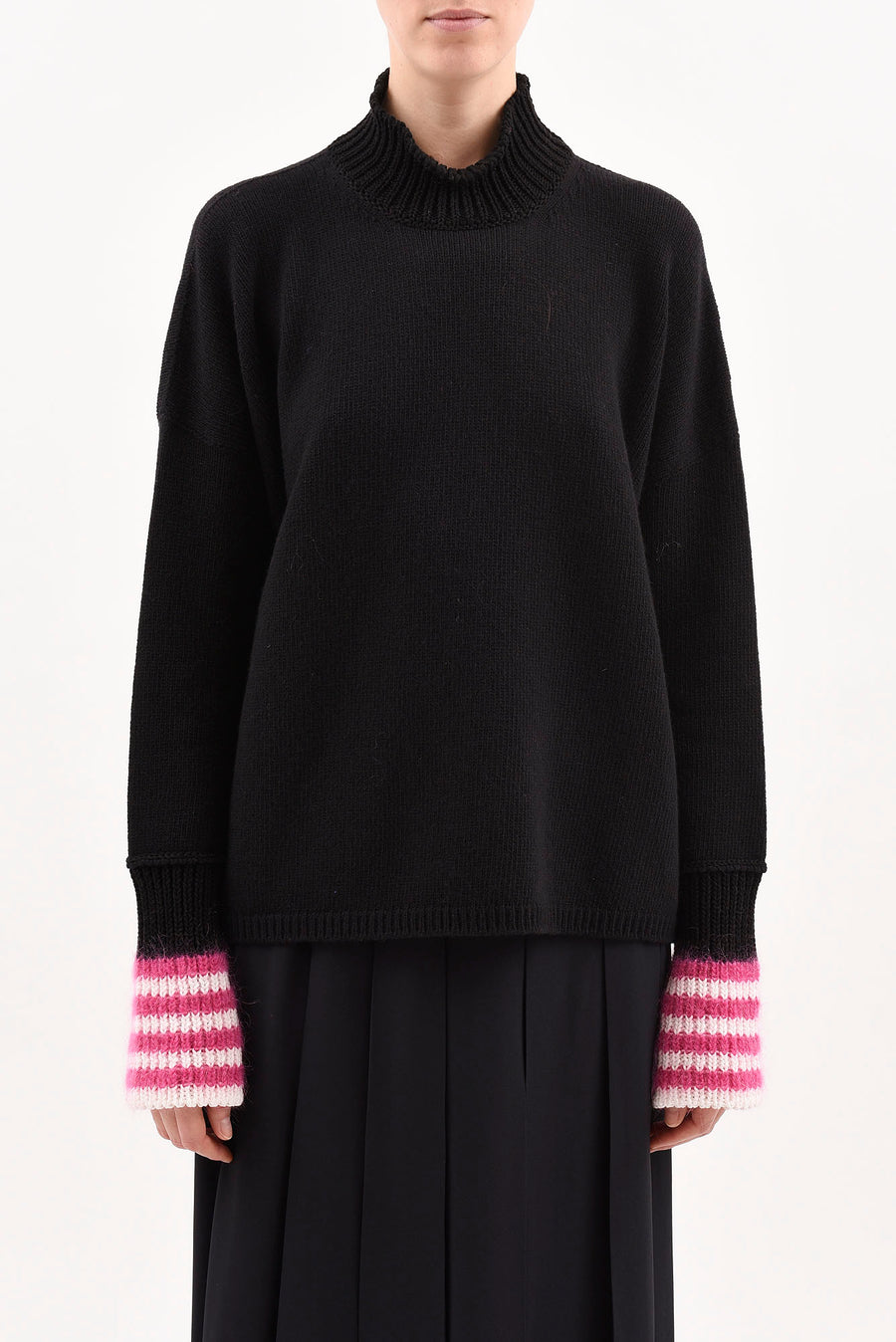 Turtleneck Sweater in Black with Magenta Striped Cuff