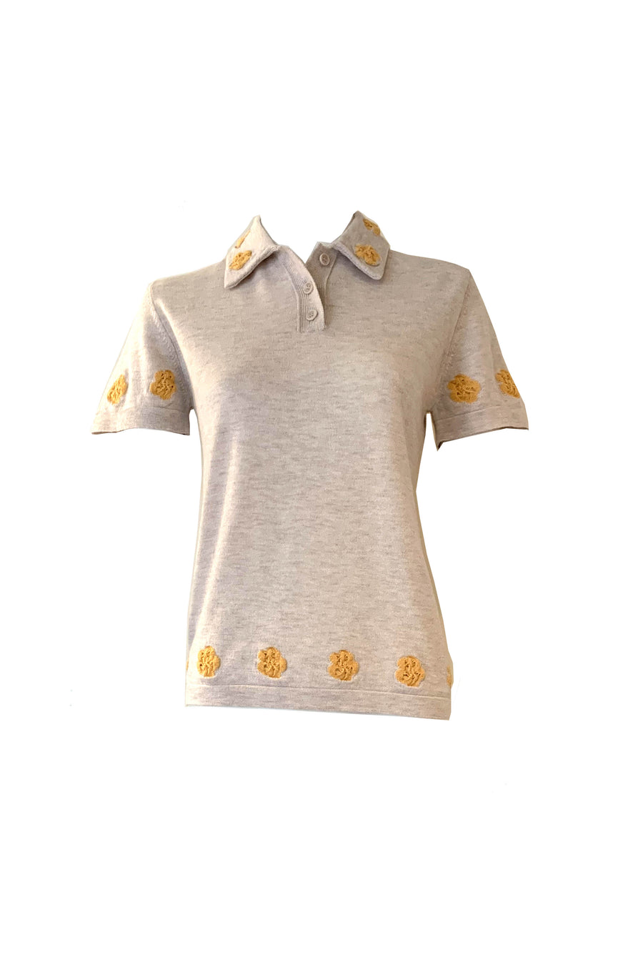 Short Sleeve Floral Polo Sweater in Beige