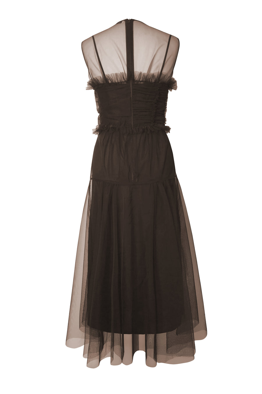 Bodice Tulle Dress in Brown