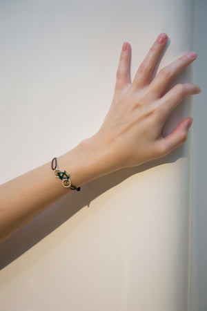 9K Yellow Gold & Enamel Bike Cord Bracelet in Green/White