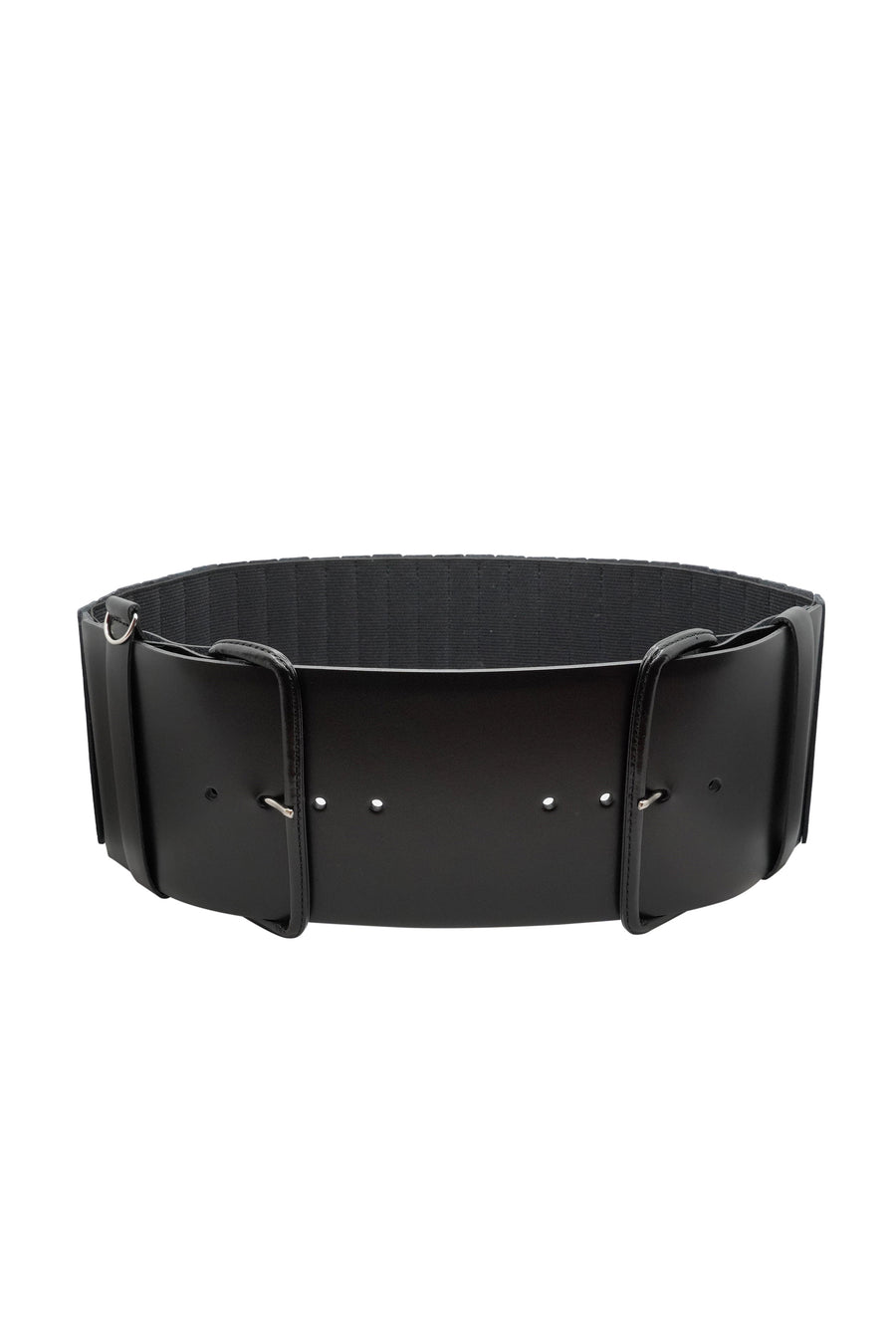 Wide Leather Accordion Belt - Black