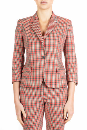 Schoolboy Blazer in Plaid Check Scarlet