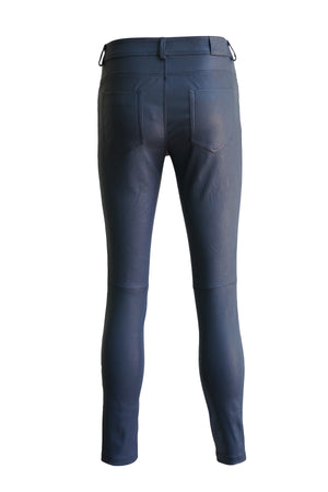 Leather Stretch Nappa Pant in Blue