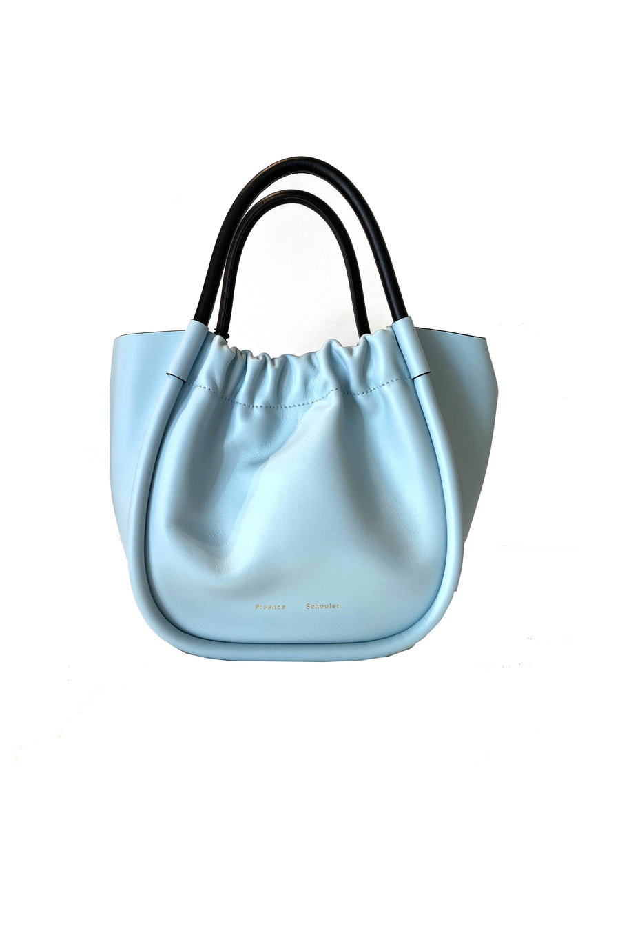 Small Ruched Tote in Baby Blue