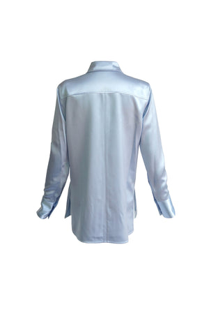 Satin Button Down Shirting in Sky Blue