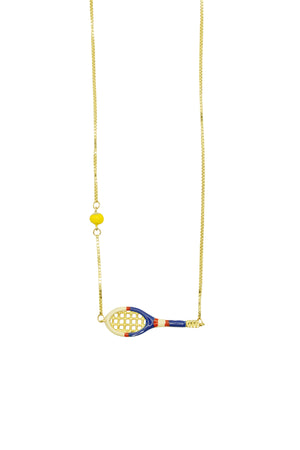 9K Yellow Gold & Enamel Tennis Necklace in Blue/White