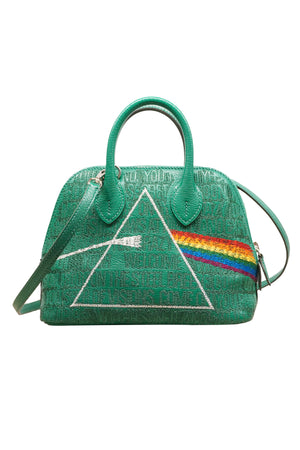 Green Embroidered Pink Floyd Album Hermes Bolide Mini Bag