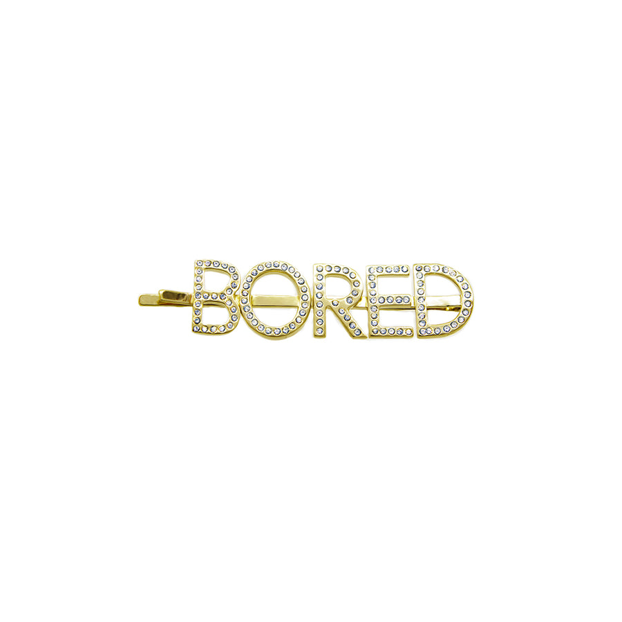 """Bored"" Crystal & Brass Hairpin"