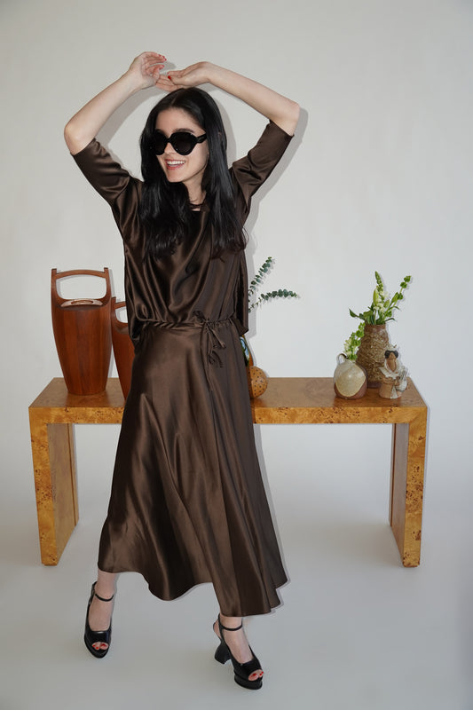 Chocolate Brown Silk Drawstring Full Skirt