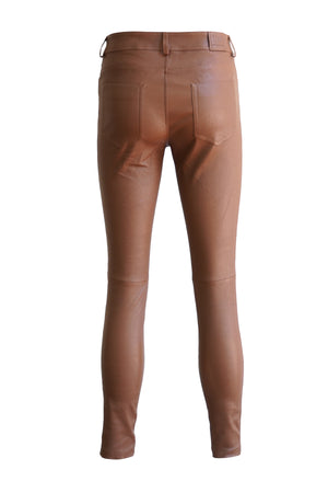 Leather Stretch Nappa Pant in Tobacco