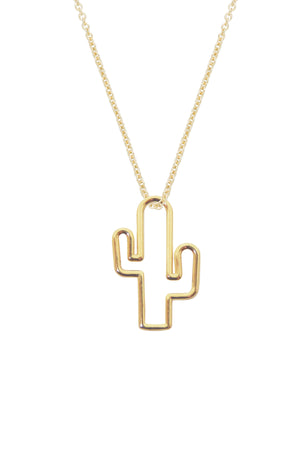 9K Yellow Gold Cactus Necklace