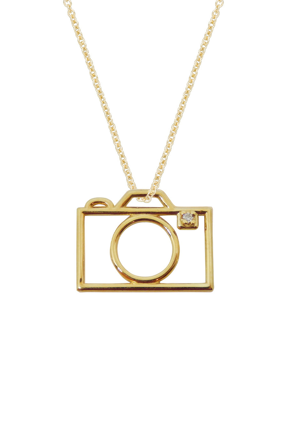 9K Yellow Gold & Diamond Camera Necklace
