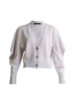 Draped Cashmere Cropped Cardigan in Lilac