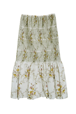 Floral Long Skirt in White Multi
