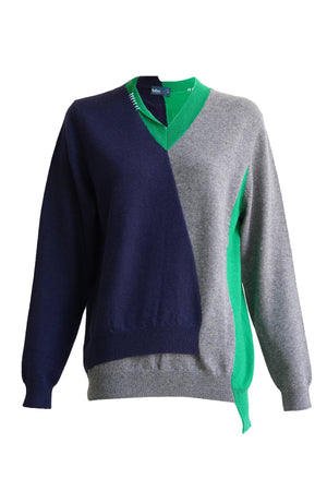 Cashmere V Neck Sweater in Navy & Green