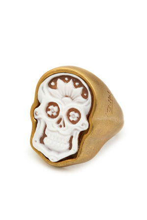 Brushed Gold Plated Sterling Silver Skull Cameo Ring