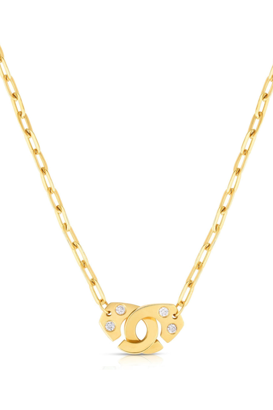 18K Gold W Diamond Clasp Necklace
