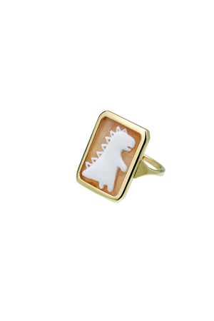 9K Yellow Gold Cameo Dino Ring
