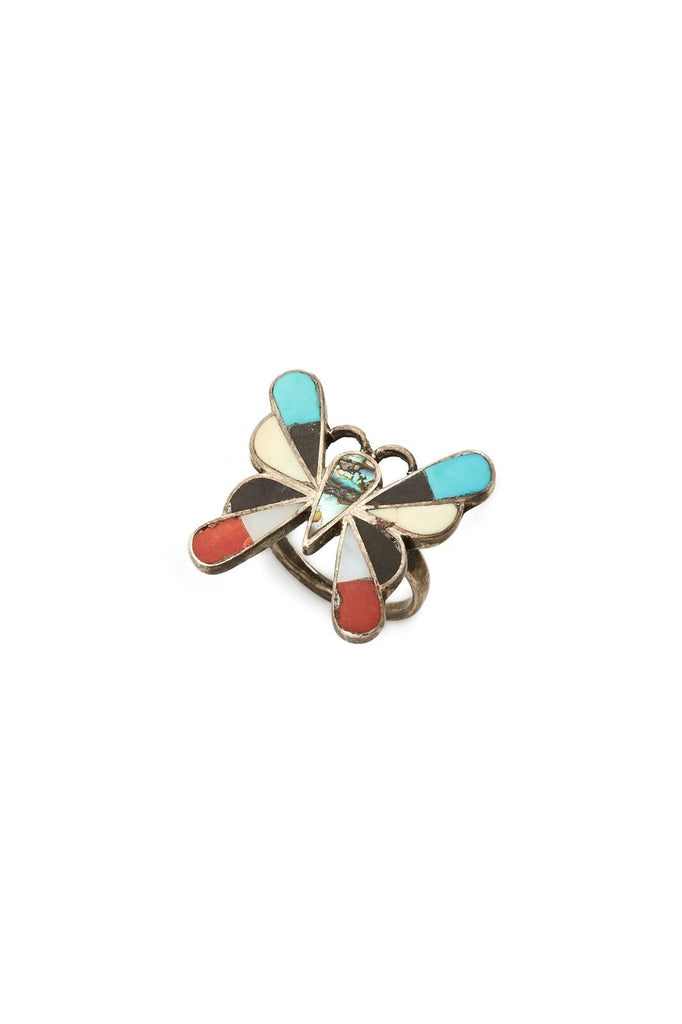 Sterling Silver with Multi Stone Inlay Butterfly Ring