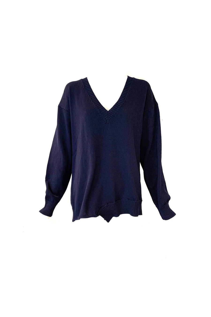 Deep V-Neck Sweater in Navy