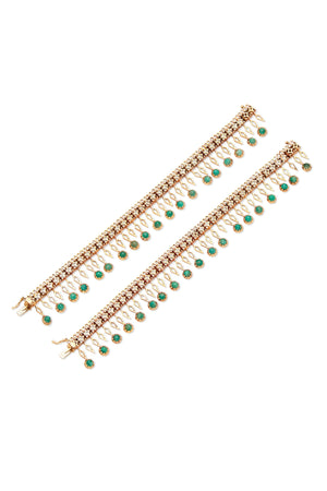 12K Gold & Emerald Two Piece Bracelet & Necklace Set