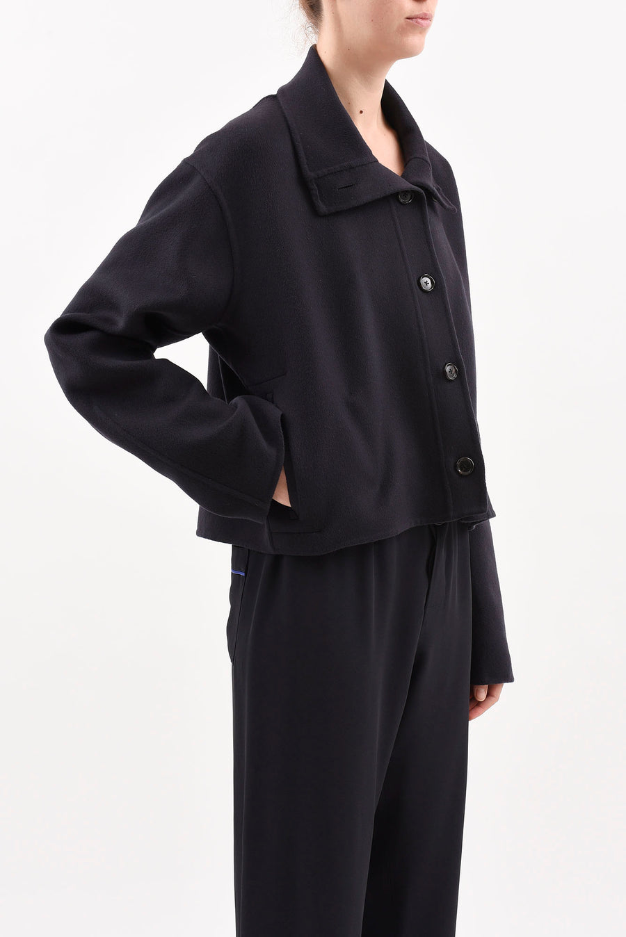 Button Neck Jacket - Black