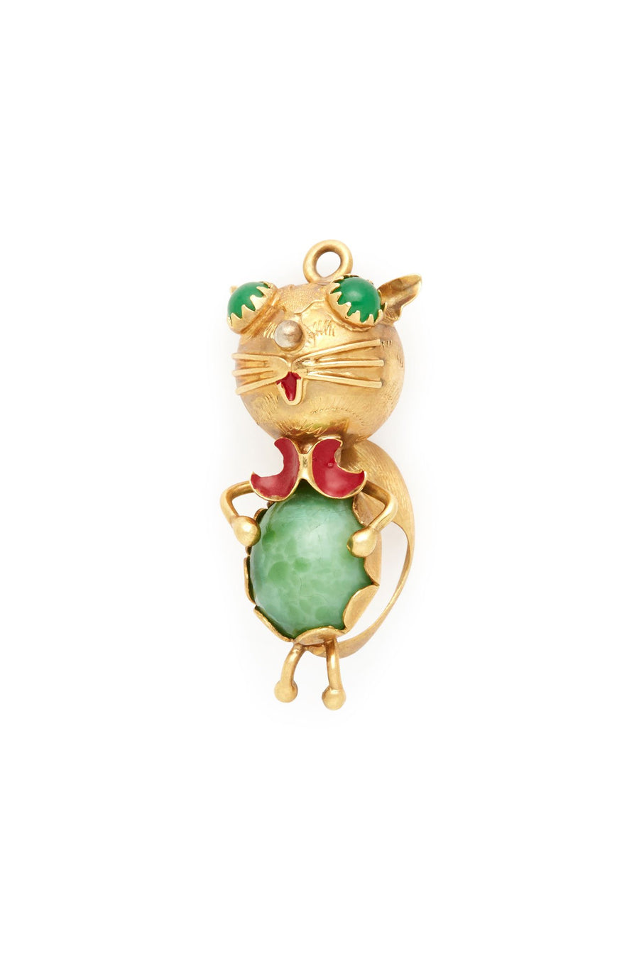 18K Gold Green Eyed Cat Charm