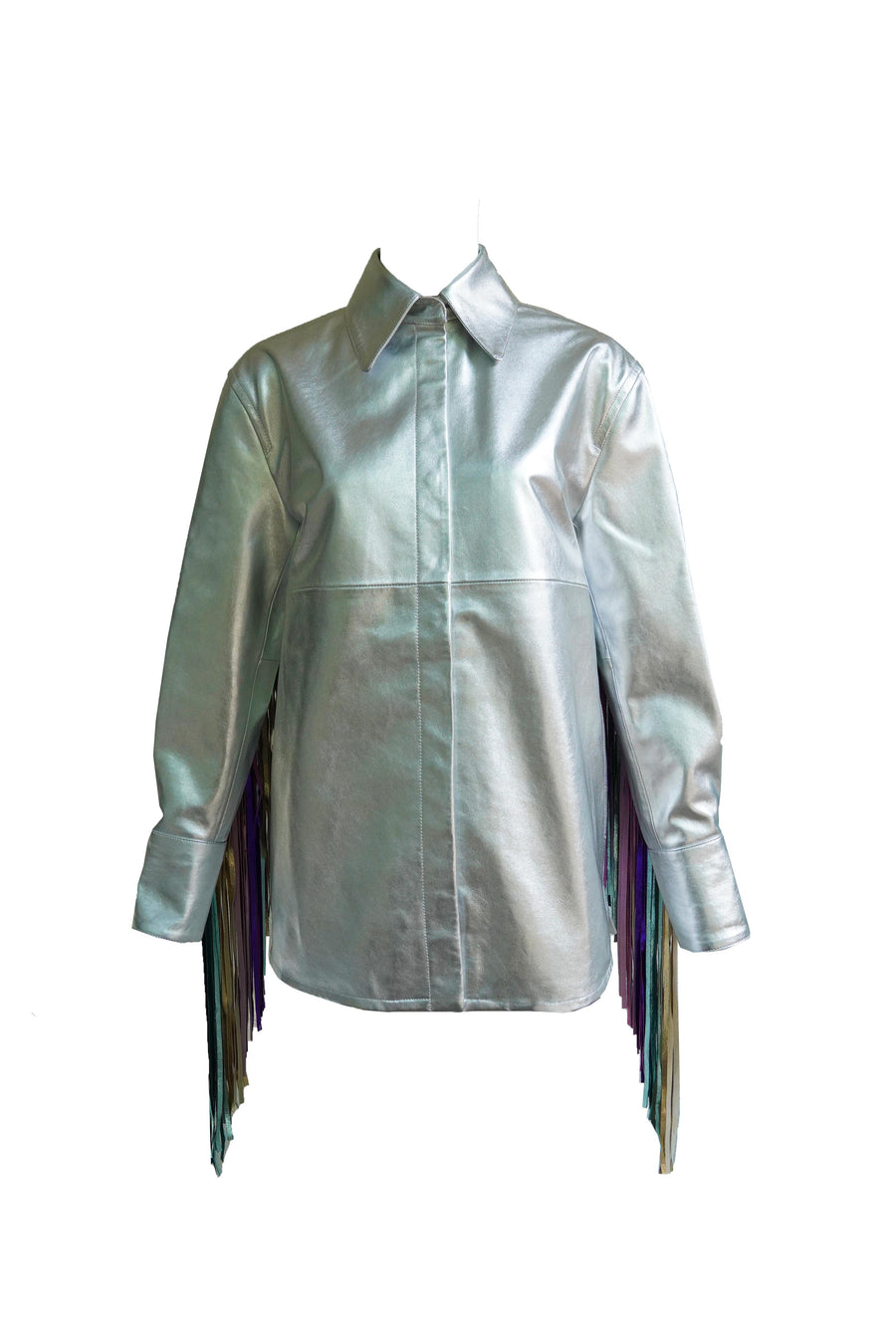 Metallic Fringed Leather Jacket